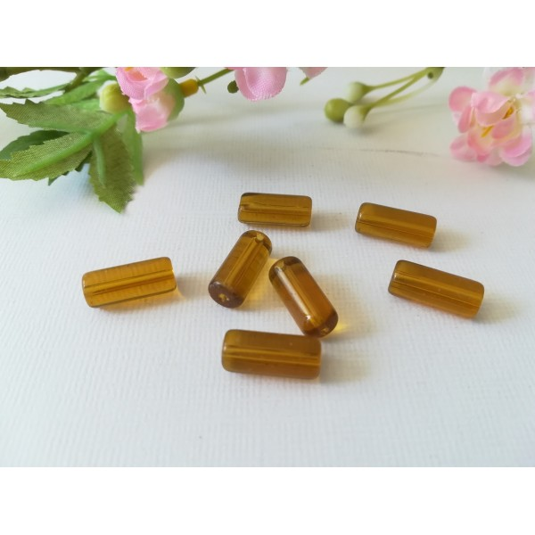 Perles en verre tube 15 x 6 mm ambre x 10 - Photo n°1