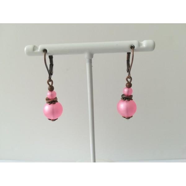 Kit boucles d'oreilles perles roses et apprêts cuivre rouge - Photo n°2