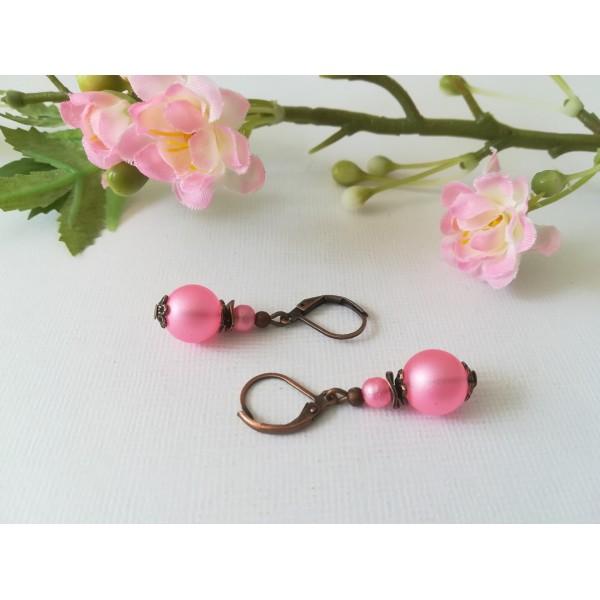 Kit boucles d'oreilles perles roses et apprêts cuivre rouge - Photo n°1