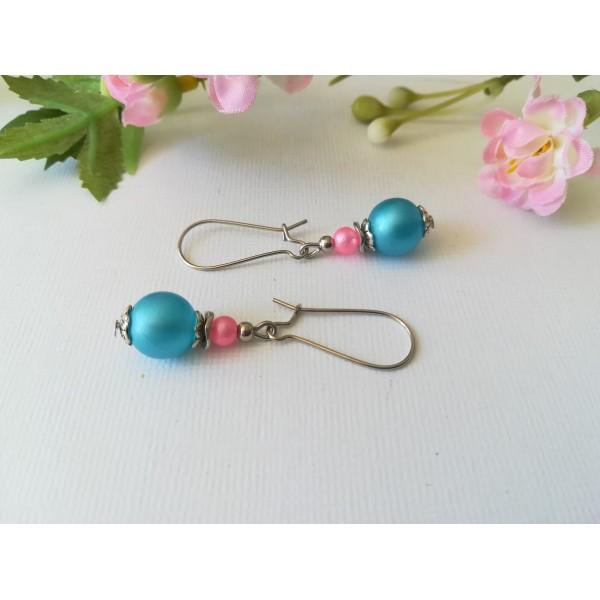 Kit boucles d'oreilles perle bleu rose et apprêts argent mat - Photo n°1