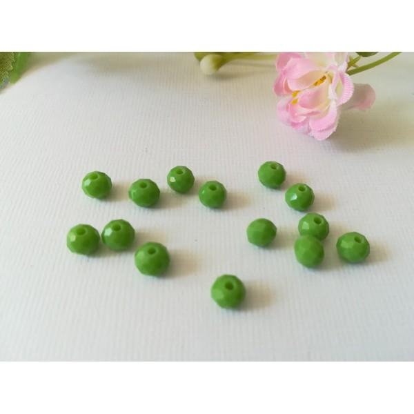 Perles en verre à facette 6 x 4 mm vert x 25 - Photo n°1