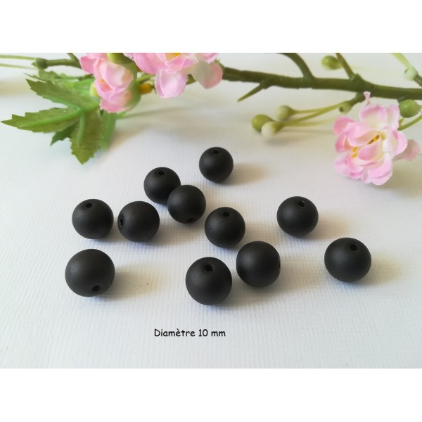 Perles en verre givré 10 mm noire x 10 - Photo n°1