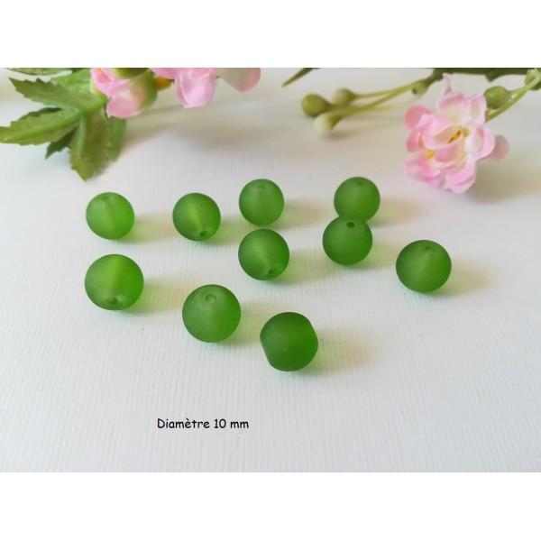 Perles en verre givré 10 mm verte x 10 - Photo n°1