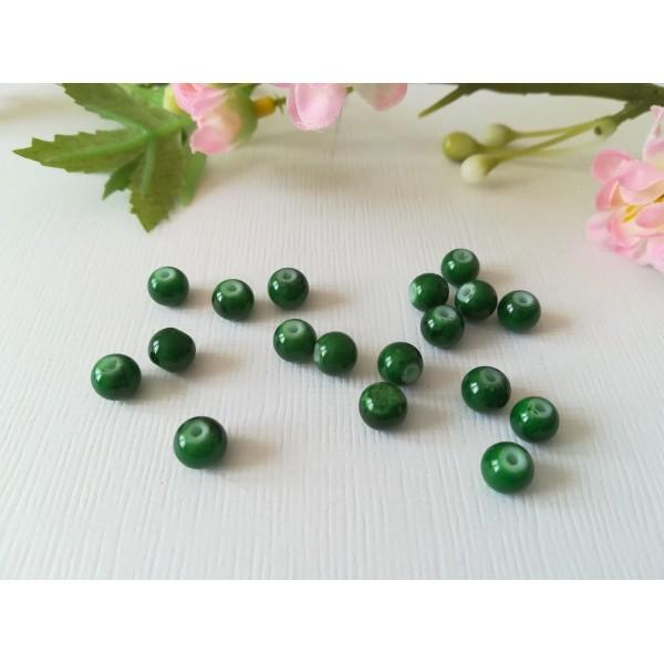 Perles en verre 6 mm vert foncé tréfilé noir x 25 - Photo n°2