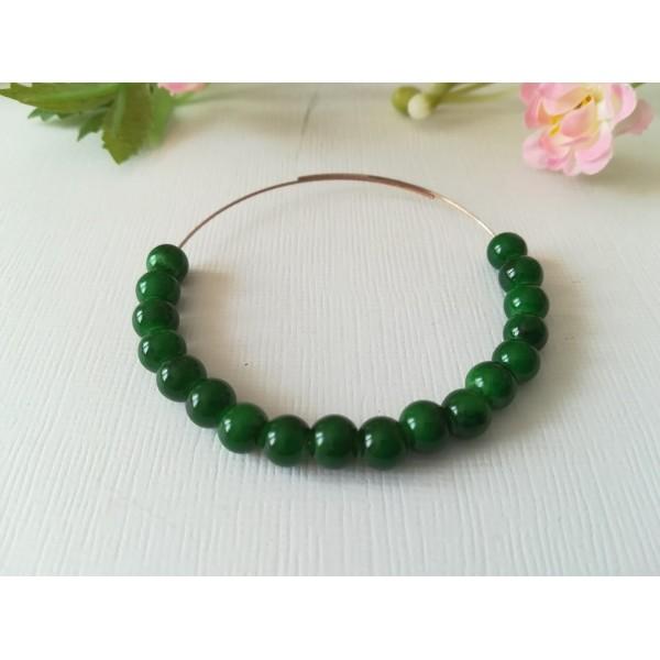 Perles en verre 6 mm vert foncé tréfilé noir x 25 - Photo n°1