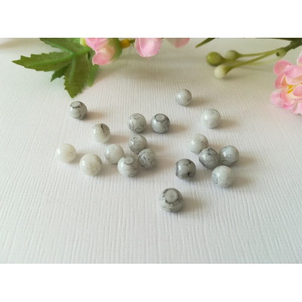 Perles en verre 6 mm blanche tréfilé noir x 25 - Photo n°2