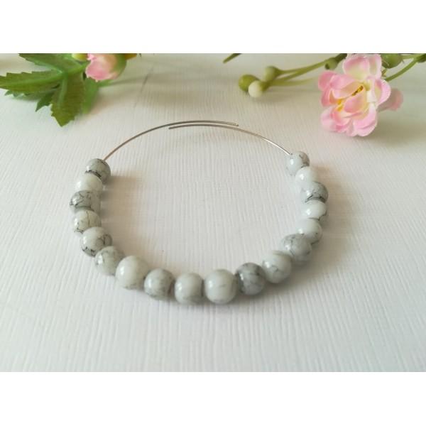 Perles en verre 6 mm blanche tréfilé noir x 25 - Photo n°1