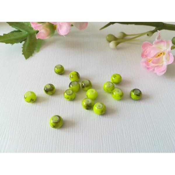 Perles en verre 6 mm jaune vert tréfilé noir x 25 - Photo n°2