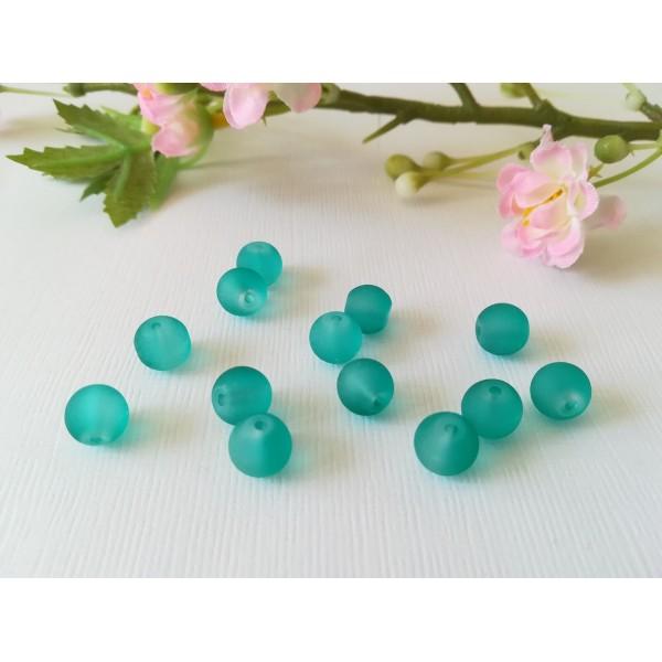 Perles en verre dépoli 8 mm turquoise x 20 - Photo n°2