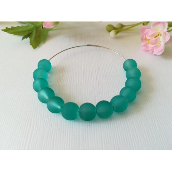 Perles en verre dépoli 8 mm turquoise x 20 - Photo n°1