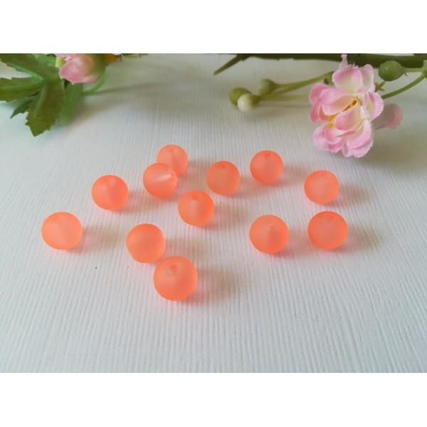 Perles en verre dépoli 8 mm orange x 20 - Photo n°2