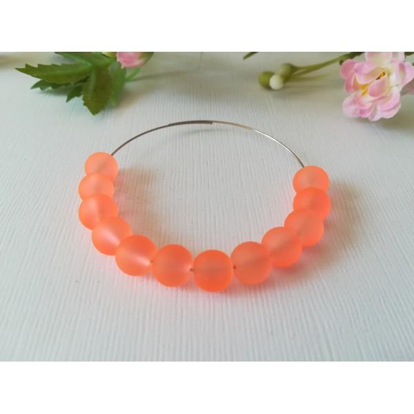 Perles en verre dépoli 8 mm orange x 20 - Photo n°1