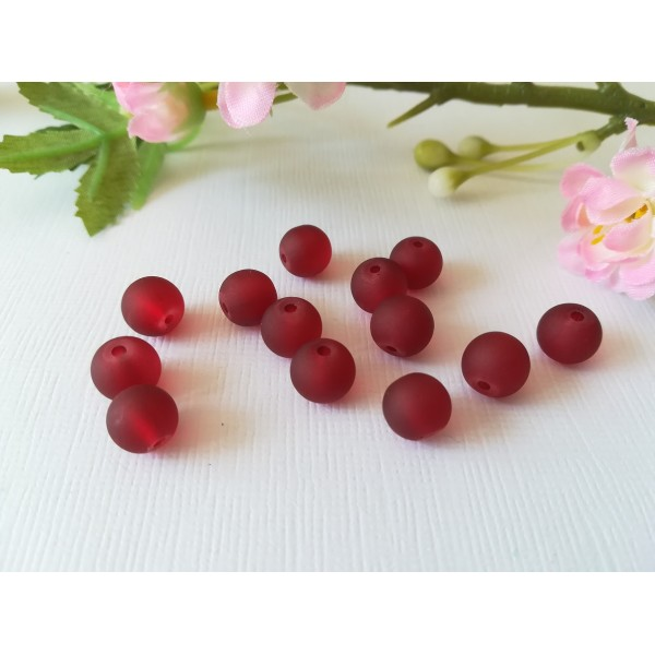 Perles en verre dépoli 8 mm bordeaux x 20 - Photo n°2