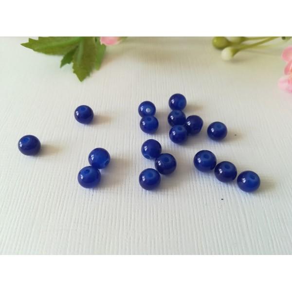 Perles en verre imitation jade 6 mm bleu nuit x 25 - Photo n°2