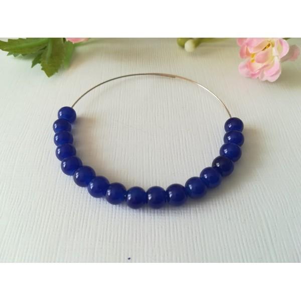 Perles en verre imitation jade 6 mm bleu nuit x 25 - Photo n°1