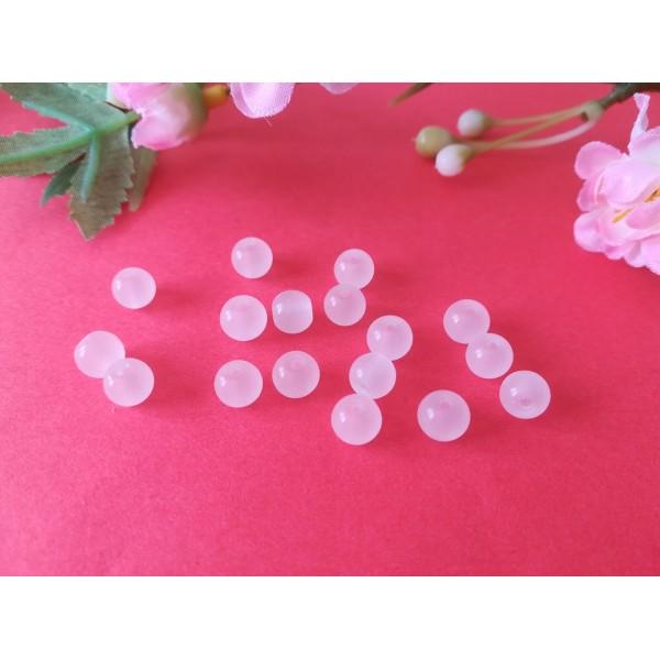Perles en verre imitation jade 6 mm blanche x 25 - Photo n°2