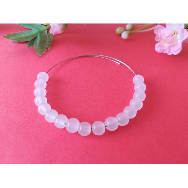 Perles en verre imitation jade 6 mm blanche x 25 - Photo n°1