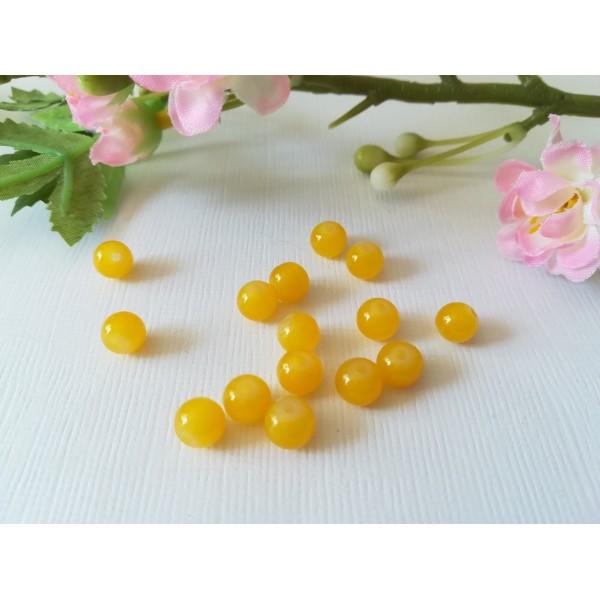 Perles en verre imitation jade 6 mm jaune moutarde x 25 - Photo n°2