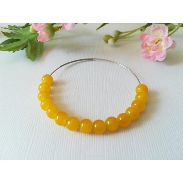 Perles en verre imitation jade 6 mm jaune moutarde x 25 - Photo n°1