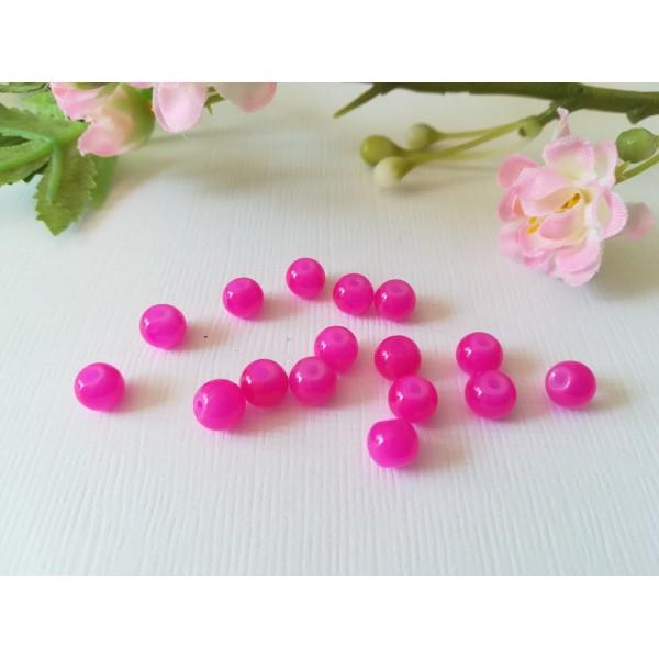 Perles en verre imitation jade 6 mm fuchsia x 25 - Photo n°2