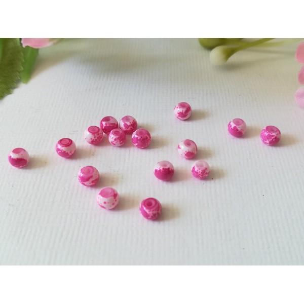 Perles en verre 4 mm blanches taches fuchsia  x 50 - Photo n°3