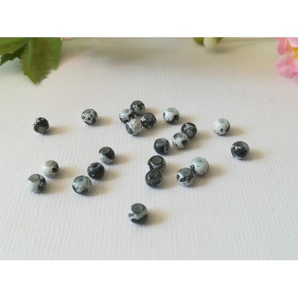 Perles en verre 4 mm blanches taches noires x 50 - Photo n°3