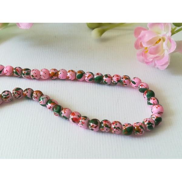 Perles en verre 4 mm roses taches multicolores x 50 - Photo n°2