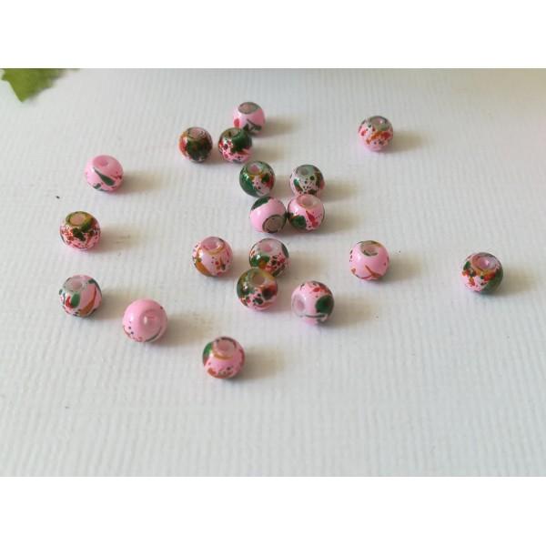 Perles en verre 4 mm roses taches multicolores x 50 - Photo n°3