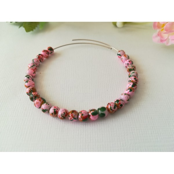 Perles en verre 4 mm roses taches multicolores x 50 - Photo n°1