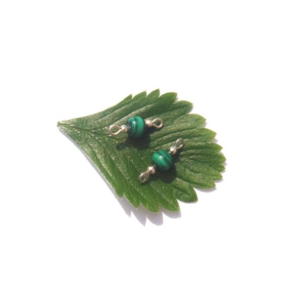 Malachite : Paire de MINI connecteurs 1.8 CM de longueur environ x 6 MM de diamètre - Photo n°2
