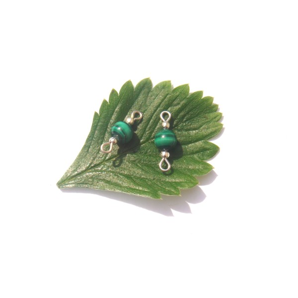 Malachite : Paire de MINI connecteurs 1.8 CM de longueur environ x 6 MM de diamètre - Photo n°1