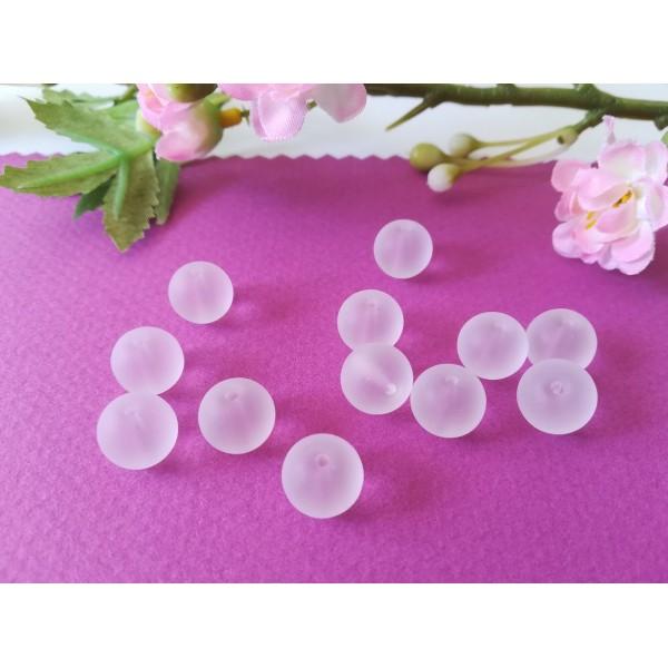 Perles en verre givré 10 mm blanche x 10 - Photo n°1