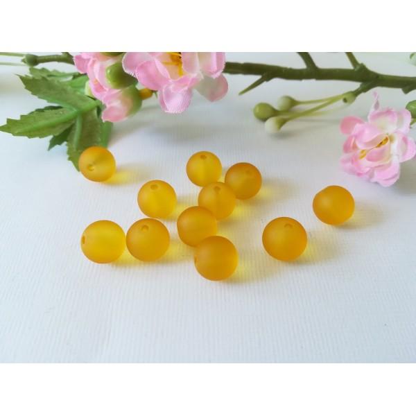 Perles en verre givré 10 mm jaune moutarde x 10 - Photo n°1