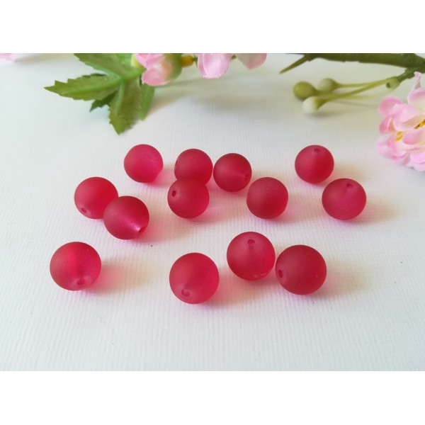 Perles en verre givré 10 mm rouge framboise x 10 - Photo n°1