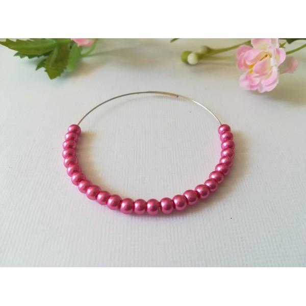 Perles en verre nacré 4 mm rose fuchsia x 50 - Photo n°1