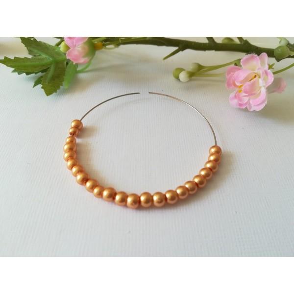 Perles en verre nacré 4 mm orange x 50 - Photo n°1