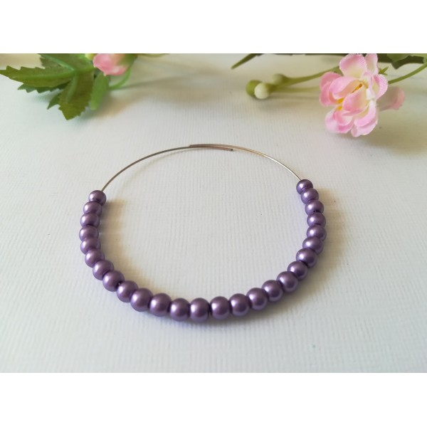 Perles en verre nacré 4 mm violet x 50 - Photo n°1