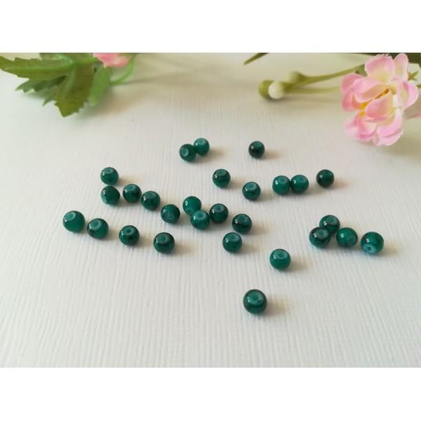 Perles en verre tréfilé noir 4 mm vert foncé x 50 - Photo n°2