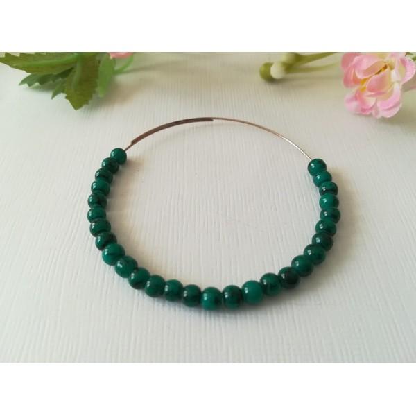Perles en verre tréfilé noir 4 mm vert foncé x 50 - Photo n°1