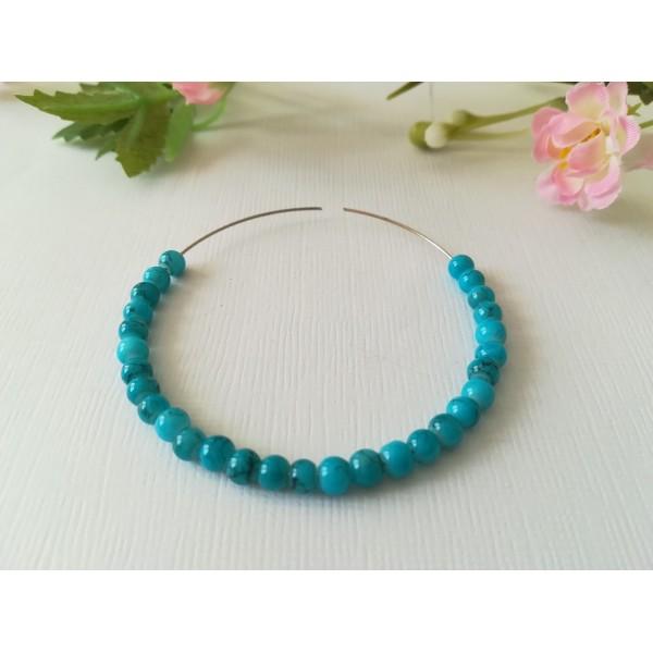 Perles en verre tréfilé noir 4 mm bleu ciel x 50 - Photo n°1