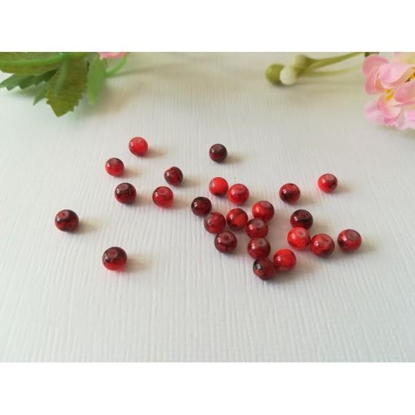Perles en verre tréfilé noir 4 mm rouge x 50 - Photo n°2