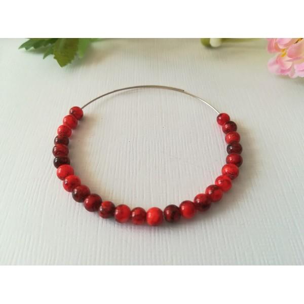 Perles en verre tréfilé noir 4 mm rouge x 50 - Photo n°1