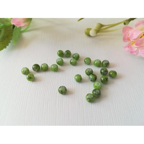 Perles en verre tréfilé noir 4 mm vert clair x 50 - Photo n°2