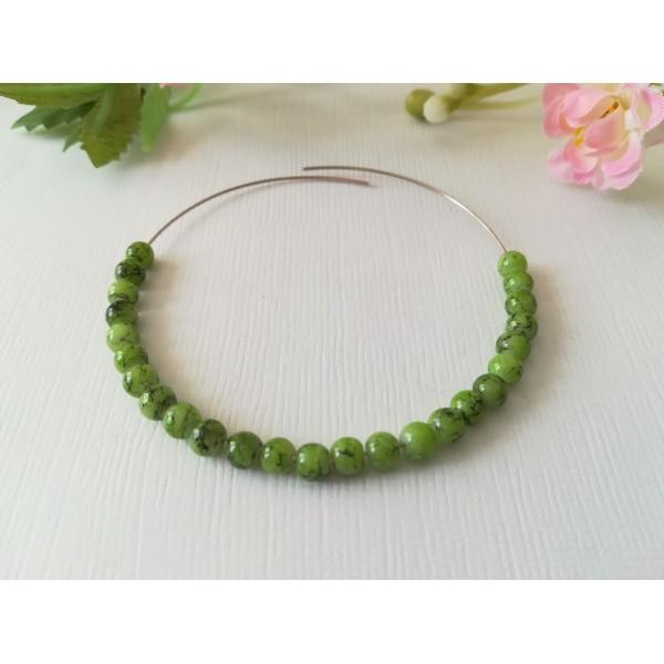Perles en verre tréfilé noir 4 mm vert clair x 50 - Photo n°1