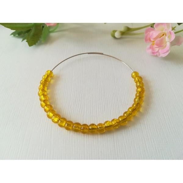 Perles en verre craquelé 4 mm jaune x 50 - Photo n°1