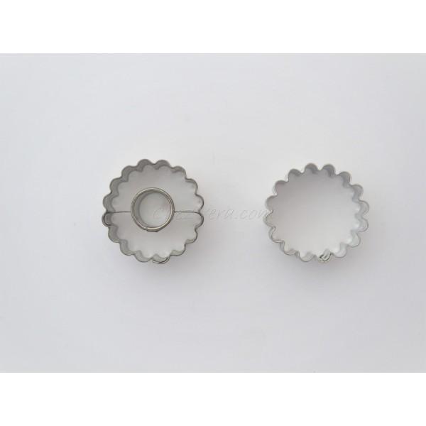 Emporte-pièces pour biscuits confiture - Rond ondulé avec rond - Photo n°1