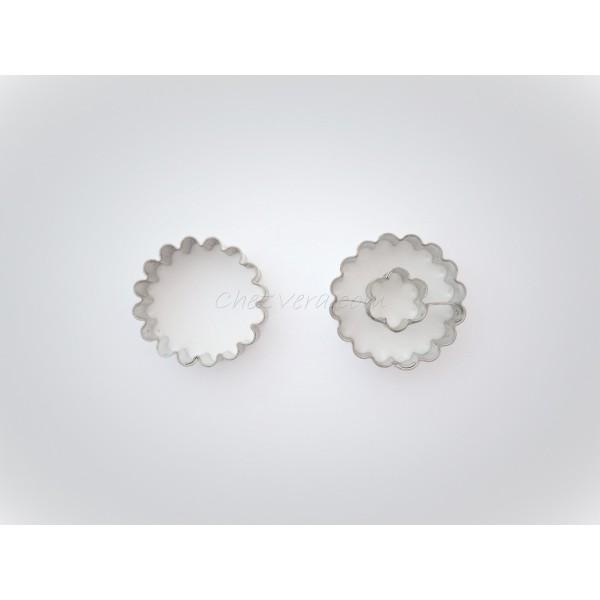 Emporte-pièces pour biscuits confiture - Rond ondulé avec fleur - Photo n°1