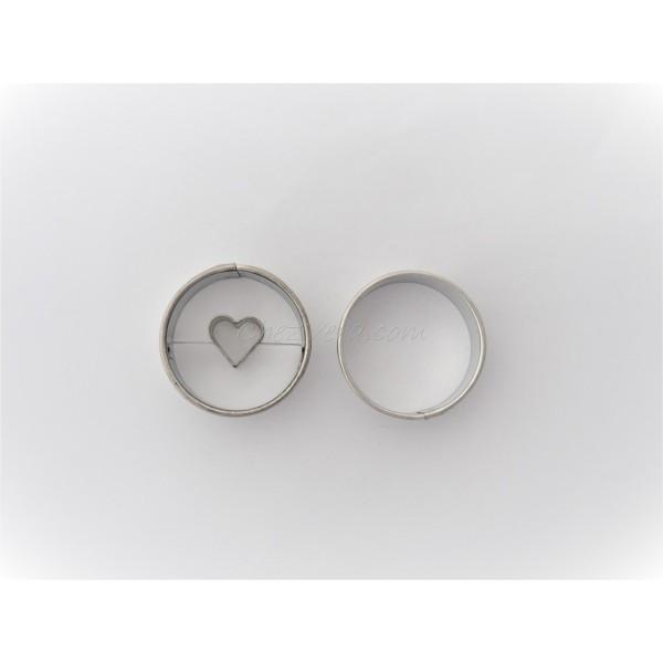 Emporte-pièces pour biscuits confiture -  Rond avec cœur - Photo n°1