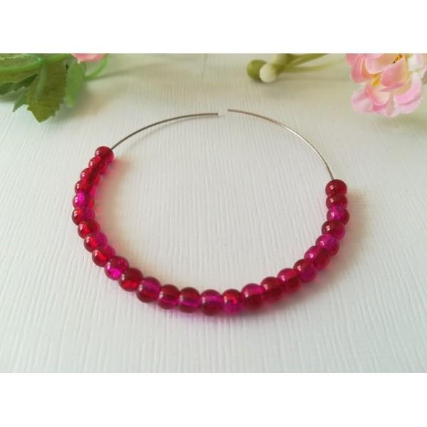 Perles en verre craquelé 4 mm prune x 50 - Photo n°1
