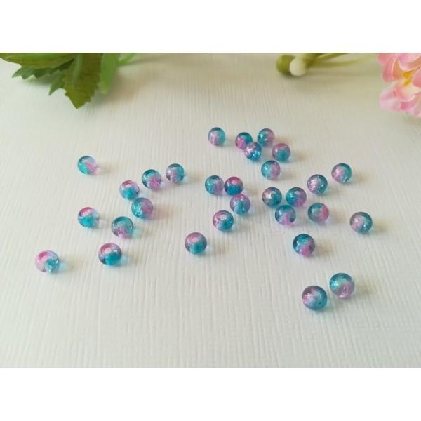 Perles en verre craquelé 4 mm bleu rose x 50 - Photo n°2